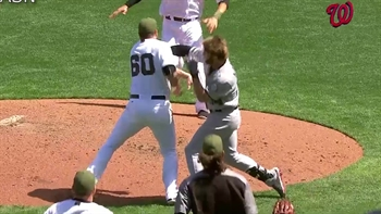 WATCH: Bryce Harper gets into wild brawl after being hit by pitch