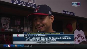 Carlos Carrasco smiles as he recounts facing Rajai Davis