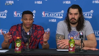 WATCH: Russell Westbrook's testy exchange with a reporter after Thunder's Game 4 loss to Rockets