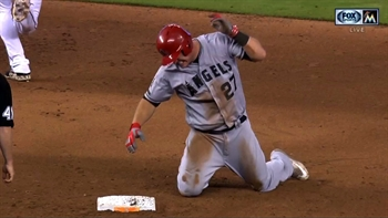 Trout sprains thumb on headfirst slide
