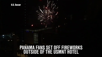Panama fans set off fireworks outside USMNT hotel