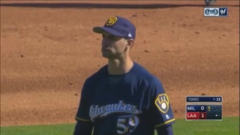 WATCH: Brewers' Carlos Torres throws four strikeouts