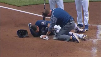 WATCH: Brewers' Pina leaves game after being hit by pitch
