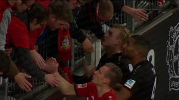 Bayer Leverkusen players met with the fans after their loss