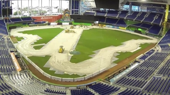 Watch a race track get built inside Marlins Park
