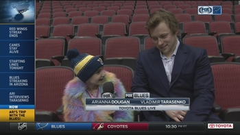 Ari interviews Tarasenko before Blues game in Arizona