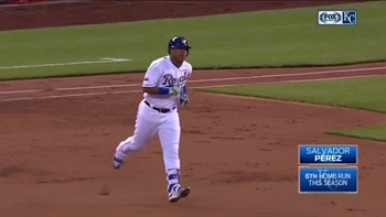 WATCH: Salvy hits deep blast to left field