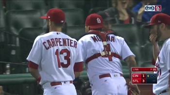 WATCH: Molina picks off Suarez at third to end bases-loaded threat
