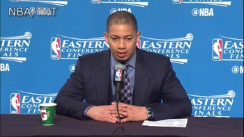 Coaches Brad Stevens and Tyronn Lue talk about LeBron's four first half fouls in Game 4