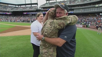 U.S. Army member surprises family at Tigers game