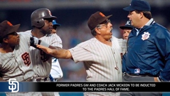 Jack McKeon being inducted into the Padres Hall of Fame in 2017