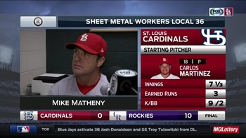 Matheny: Cardinals 'couldn't capitalize' in 10-0 loss to Rockies