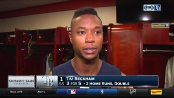 Tim Beckham frustrated with his throwing error after loss