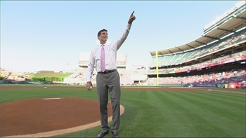 Angels Live: Gubie tosses a first pitch strike before the Angels take on the Jays