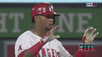 HIGHLIGHTS: Maldonado's double drives in Maybin during big 2nd inning for Angels