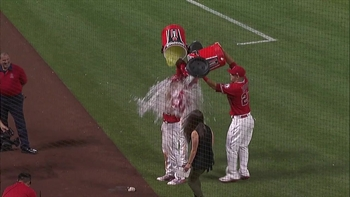 'Simba Slam:' Angels SS hits grand slam then gets a 'shower' in 5-4 win