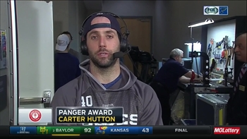 Hutton earns win on back-to-back nights, wins Panger Award