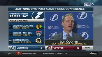 Lightning coach Jon Cooper on loss to Coyotes