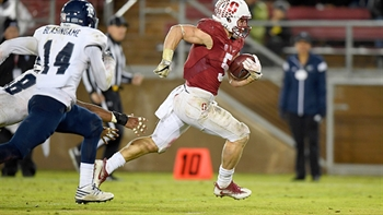 Christian McCaffrey tries out a new position at his Stanford pro day